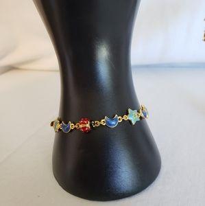 Joan rivers enamel star and moon bracelet